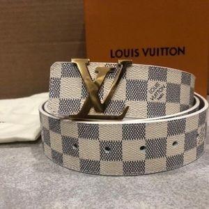 Louis Vuitton White Azur Belt (Authentic)